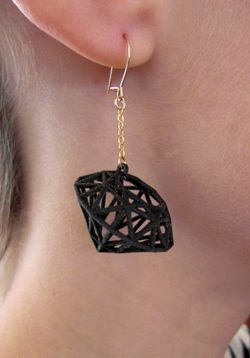 3-D printed black diamond earrings